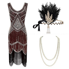 1920s Plus Size Gatsby Sequin Fringed Dress Paisley Art Deco Flapper Sleeve Dress with 20s Accessories Set xs,s,l,m,xl,xxl