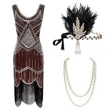 1920s de talla grande Gatsby Sequin Fringed Dress Paisley Art Deco Flapper Sleeve Dress con 20s Accessories Set xs,s,l,m,xl,xxl