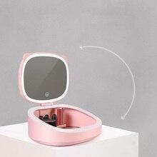 Makeup Mirror With Led Light Beauty Organizer Box Jewelry Illuminated Vanity