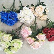 Искусственные розы, 1 букет, 9 голов, розы, искусственные розы, шелковые цветы для DIY, украшения дома, сада, свадьбы, MU8669