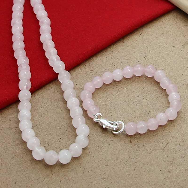 Wysokiej jakości 925 srebrny różowy koralik z kryształkami zestaw biżuterii ślubnej naszyjnik zestawy bransoletek dla kobiet biżuteria ślubna Trendy