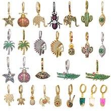 Small Hoop Earrings Women CZ Rainbow Jewelry Gold Silver Color Pineapple Star Cactus Evil Eye Elephant Tree Hoops Earring Indian цены