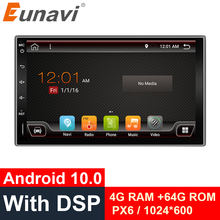 Eunavi 2 Din 7 Inch Android10.0 6Cores Universele Auto Radio Mutimedia Stereo Speler Gps BT5 Digitale Dsp TDA7803A 4G 64G Wifi Ips