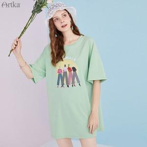 Женское свободное платье-футболка ARTKA, Повседневное платье с круглым вырезом и открытой спиной, модель ZA25204X на лето, 2020