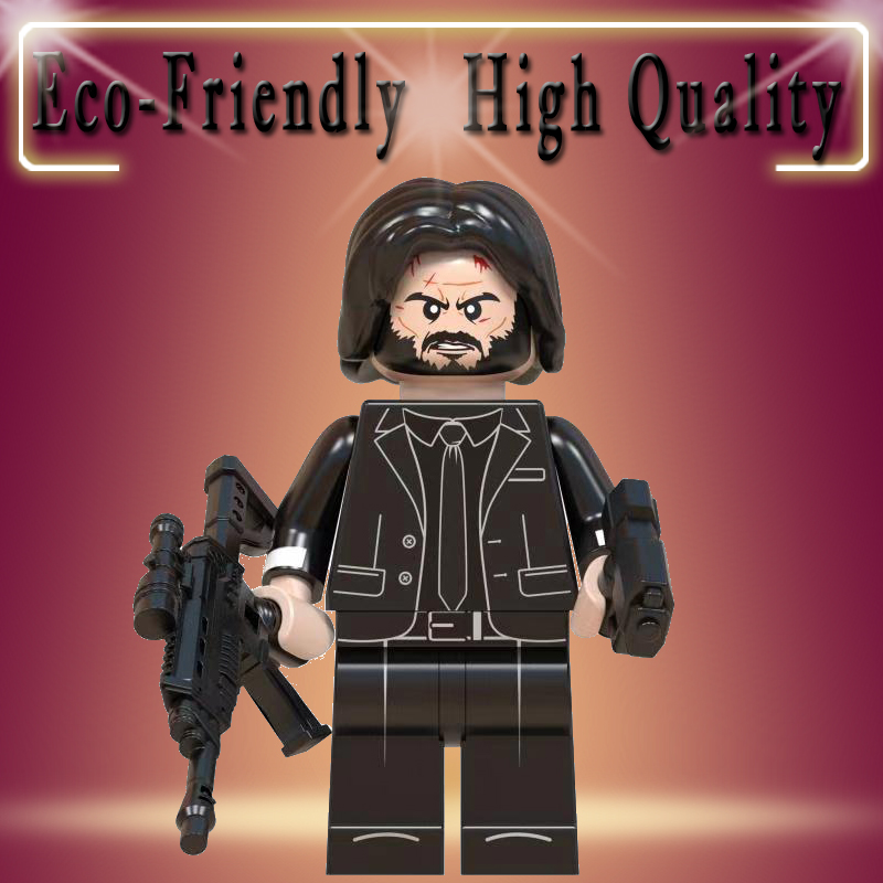 Legoed John Wick Movie TV Horror Drama House Of Paper Scream Dr Who Robocop Hellboy Cowboy Brick Building Blocks Toys Gift WM830