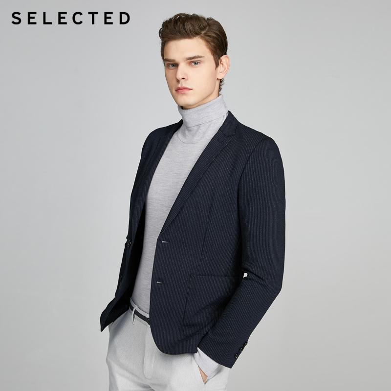 SELECTED Men's Slim Fit Striped Knitted Business Blazer Jacket S|420108503