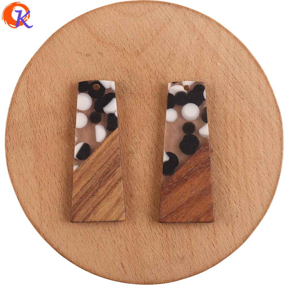Cordial Design 30Pcs 19*49MM Jewelry Accessories/DIY Earrings Making/Wood & Resin/Trapezoid Shape/Hand Made/Earring Findings