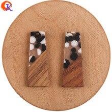 Design cordial 30 pçs 19*49mm jóias acessórios/diy brincos fazendo/madeira & resina/trapezóide forma/feito à mão/brinco descobertas