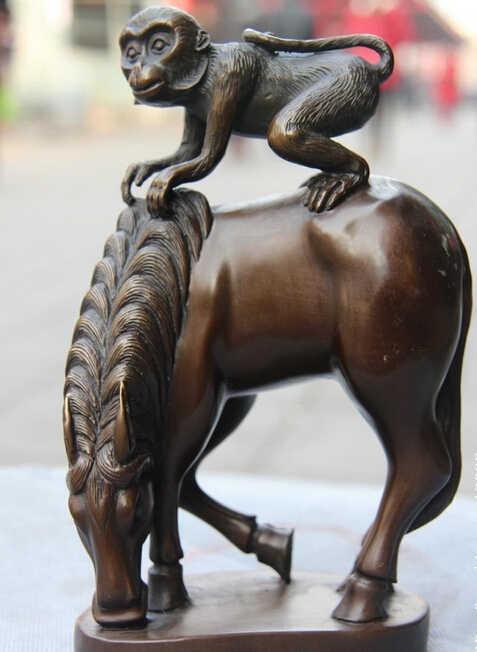 822 + + + + + 9 ברונזה נחושת פנג שואי מזל מייד חותם הואו קוף לרכב על סוס פסל