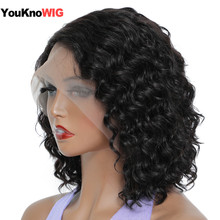 Deep Wave Bob Human Hair Wigs Natural Hairline Brazilian Remy Hair Short Deep Curly Bob T Part Lace Wig Preplucked Baby Hair