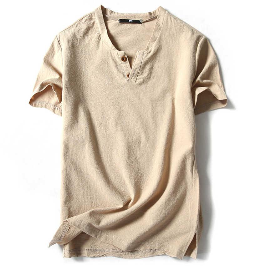 2020 קיץ חולצה עבור Mens הסיני סגנון למעלה קצר שרוול כותנה פשתן רטרו מסורתי Cheongsam וו טאנג חליפת בגדים