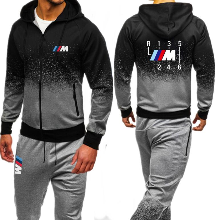 Men Sets Zipper Hoodies Pants Hooded Tracksuit Motorsport Shifter M Power Print Male Sweatsuit Mens Sporting Suits Autumn