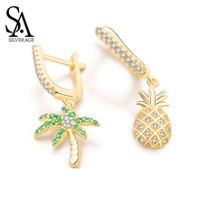 SA SILVERAGE Oasis Original Design Earrings Female Asymmetric Pineapple S925 Sterling Silver Woman Simple
