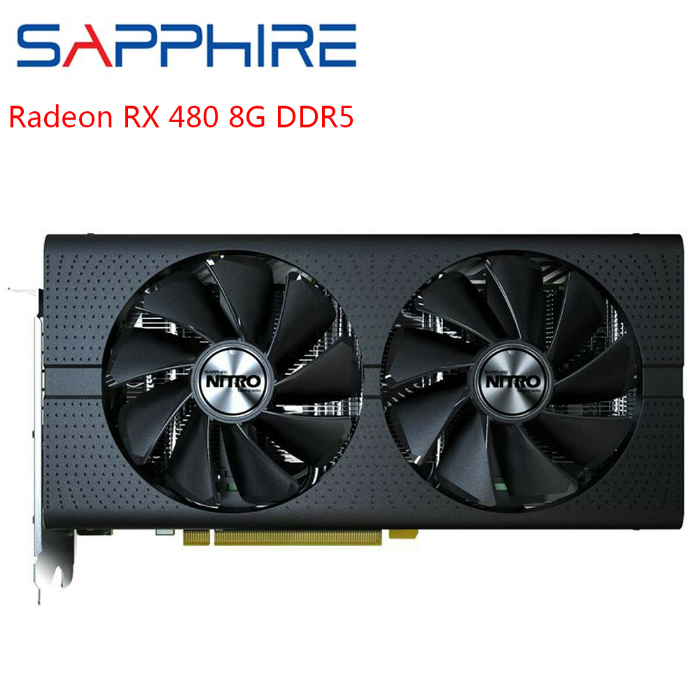 SAPPHIRE AMD Radeon RX480 Graphics Cards Gaming PC Desktop Video Card GPU RX480 256bit 8GB GDDR5 Used Card For Gamer