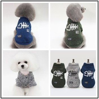 Fish Bone Hoodie Pet Dog Clothes Cartoon Clothing Dogs Cotton Medium Soft Costume Cute Chihuahua Print Autumn Blue Boy Mascotas image