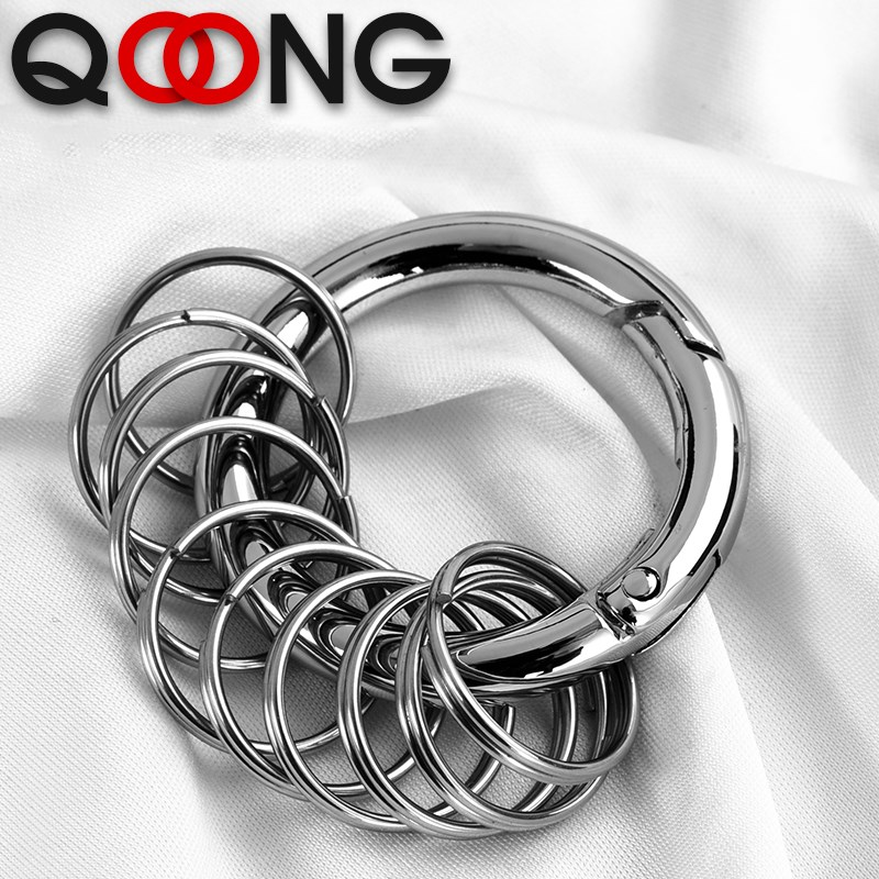QOONG 1 Big Ring + 10 Small Rings Keychain Wait Hanged Key Chain Spring Buckle Key Ring Metal Car Keyrings Key Accessories S56