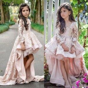 Розовые платья с длинными рукавами и цветочным узором для девочек, пышные платья с кружевной аппликацией и v-образным вырезом для девочек, д...