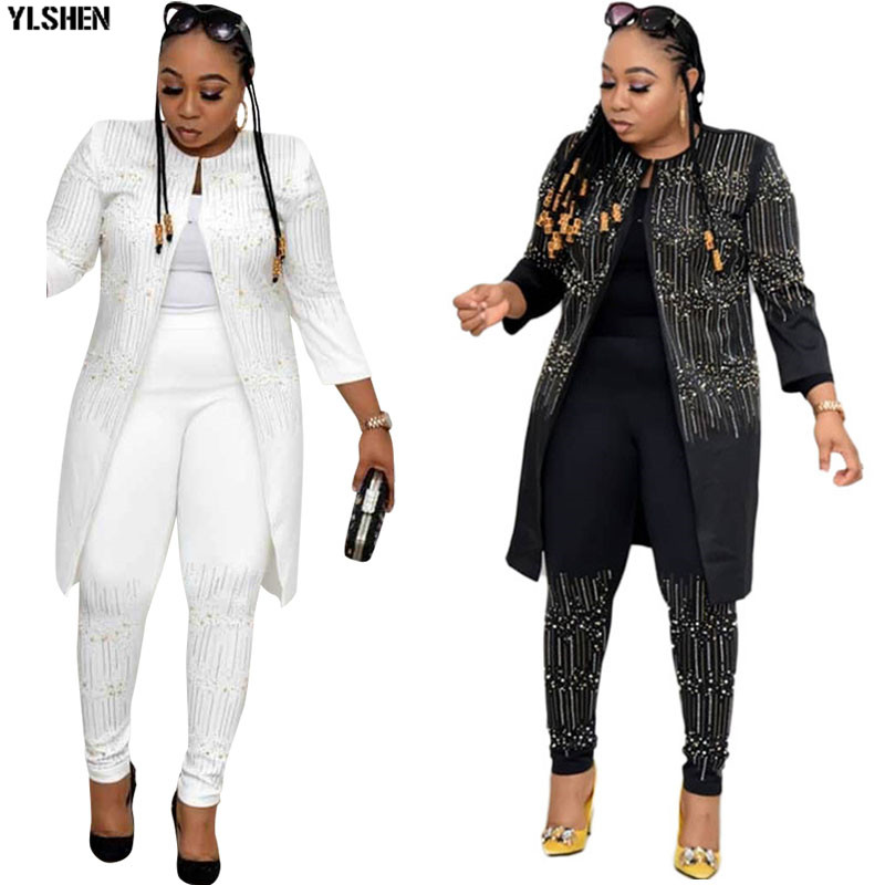 3 Piece Set Africa Clothing African Dresses for Women Dashiki Diamond Two Piece Set Top And Pants Famous Suit African Clothes