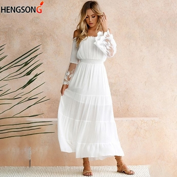 2019 summer women boho maxi dresses loose long sleeve sundress white lace dress long hollow out beach dress Women Dress Sexy Off Shoulder Lace Boho Women Maxi Dress Women White Beach Dress Strapless Long Sleeve Loose Dress