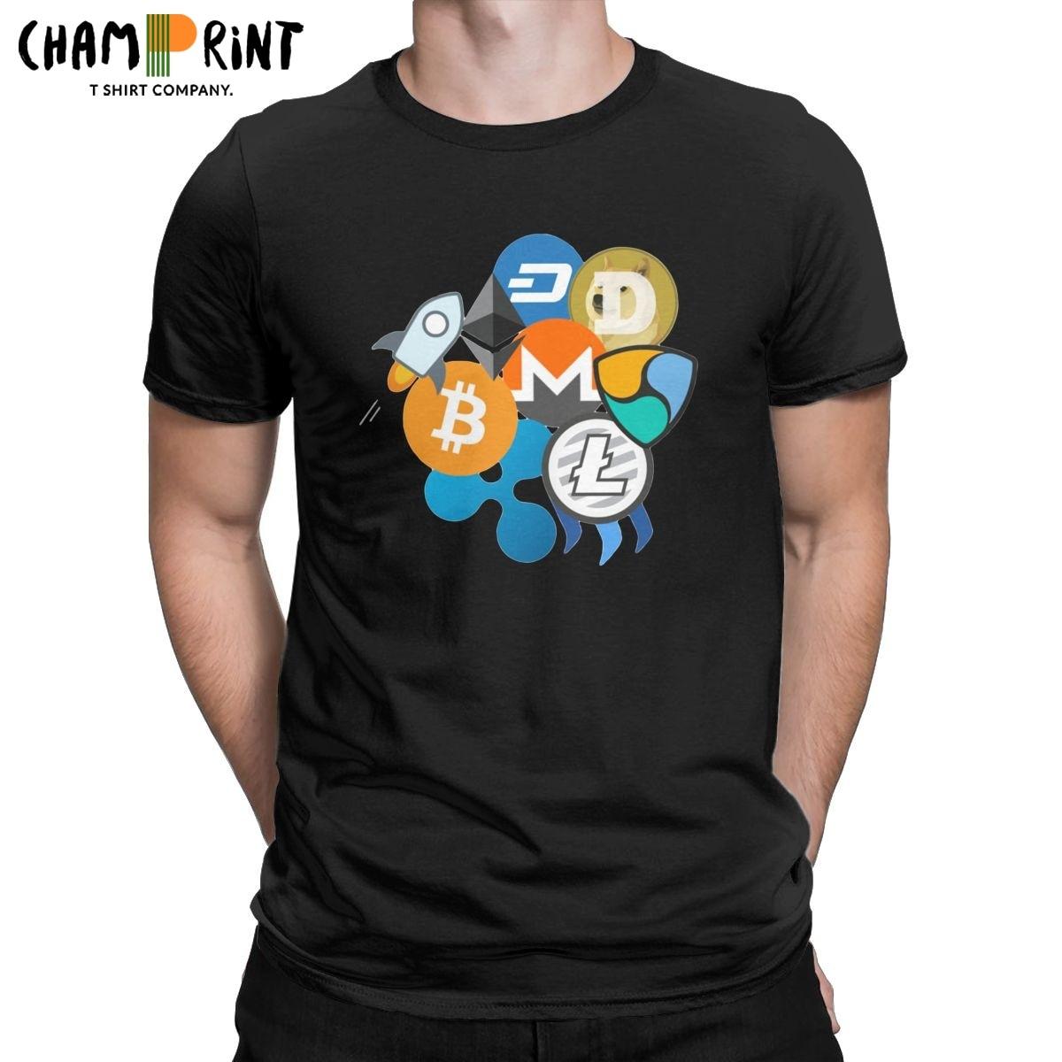 Мужские Винтажные футболки с принтом биткоинов, волнистых волн, эфириума, литекоина, Неодима, звездного ллу, мужчин, криптовалюты, 100% хлопок
