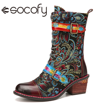 Shoe SOCOFY Ankle-Boots Botas-De-Mujer Women Cloth Buckle Zip Flowers Retro-Style