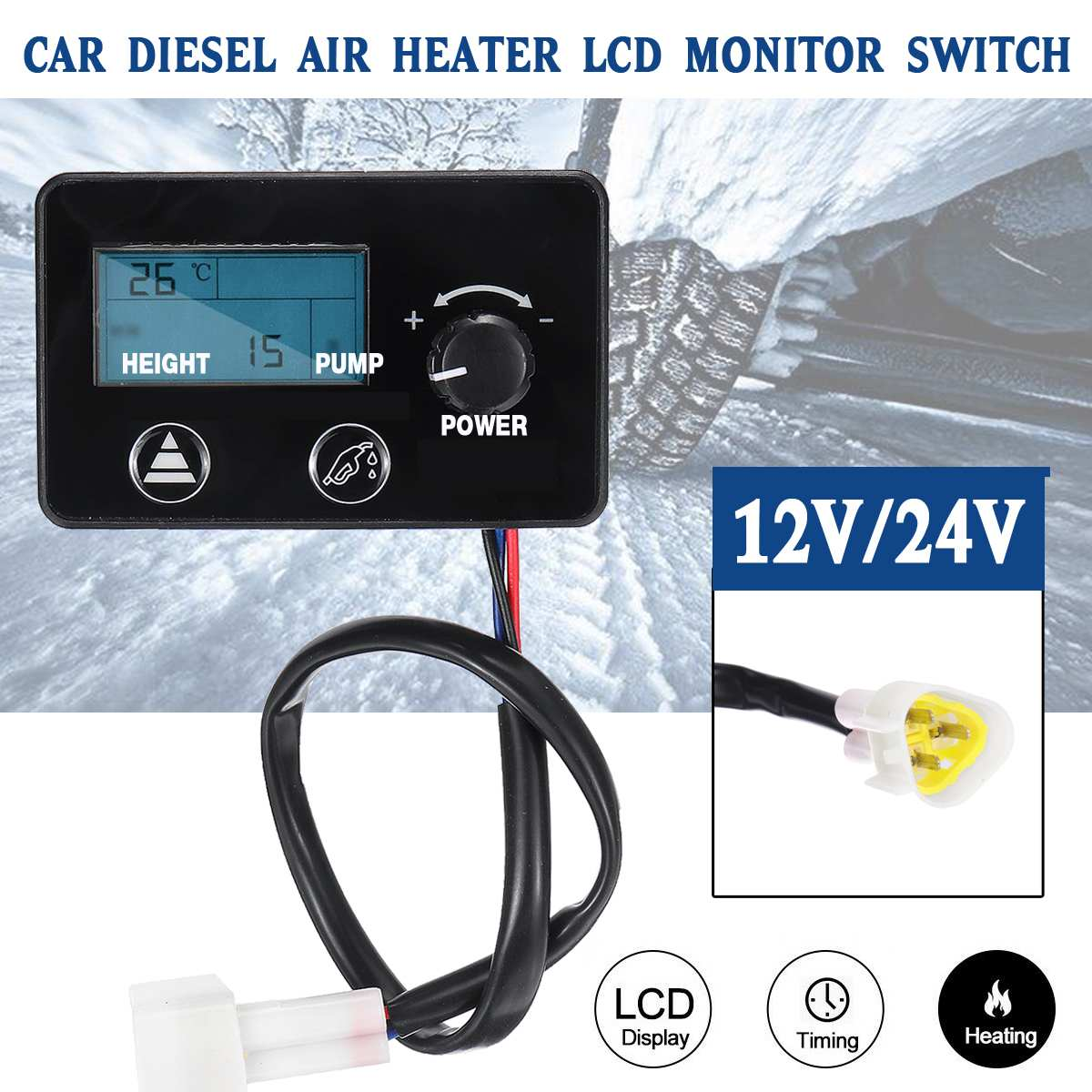12V//24V LCD Monitor Air Parking Heater Switch Controller for Car Track Diesel Air Heater