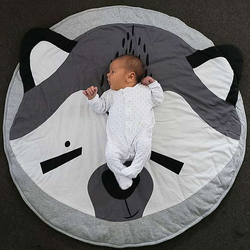 90cm X 1cm Baby Play Mats Kids Crawling Carpet Animal Round Floor Rugs Baby Bedding Blanket Cotton Game Pads Infant Room Decor