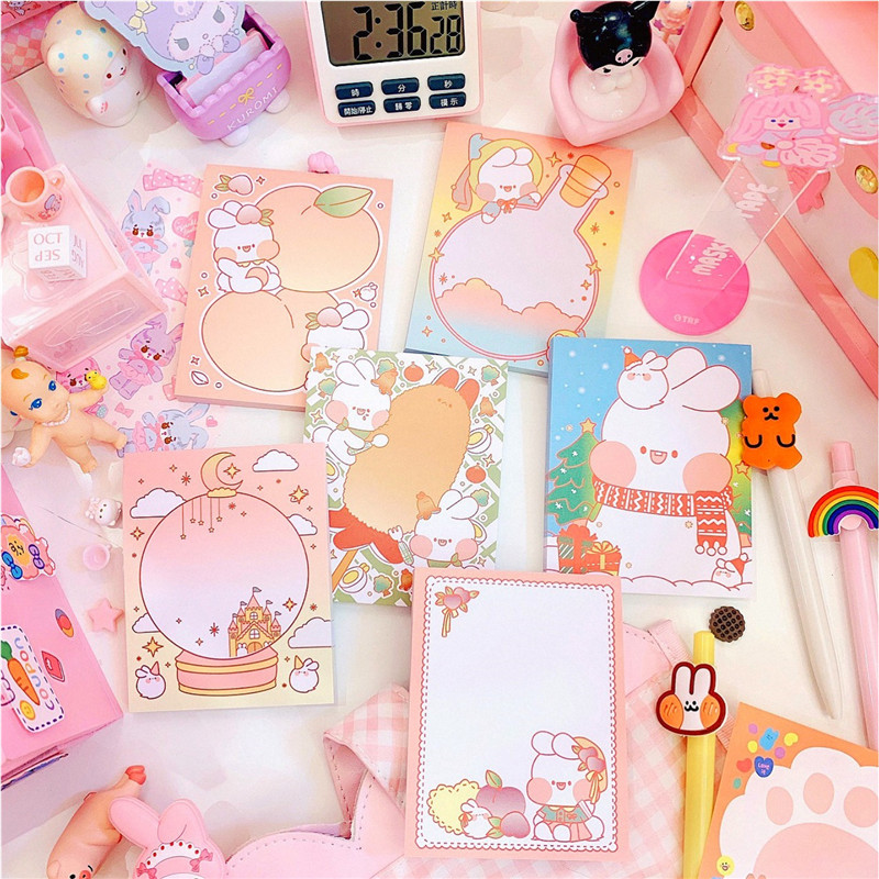 60sheets/pack Korea Kawaii Rabbit Memopads Message Unsticky Notes Bookmarker School Office Supply Student Stationery