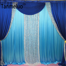 W3mxH3m Blue background curtain royal blue drape and swag silver sequin wedding backdrop party event
