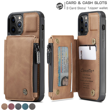 Leather Wallet Case for iPhone 12 Mini 12 11 Pro XS Max SE 2020 8 7 Plus Zipper Purse Wallet Cover With Card Slot Phone Cases 1