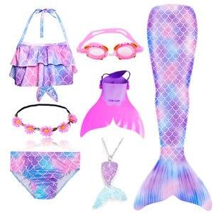 Image 5 - مايو حورية البحر للأطفال مع زعنفة ونظارة وطوق وسلسلة, بدلة سباحة، للبنات،يمكن أضافة زعنفة أحادية