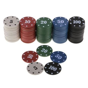 100pcs Round Plastic Chips Casino Poker Card Game Baccarat Counting Accessories