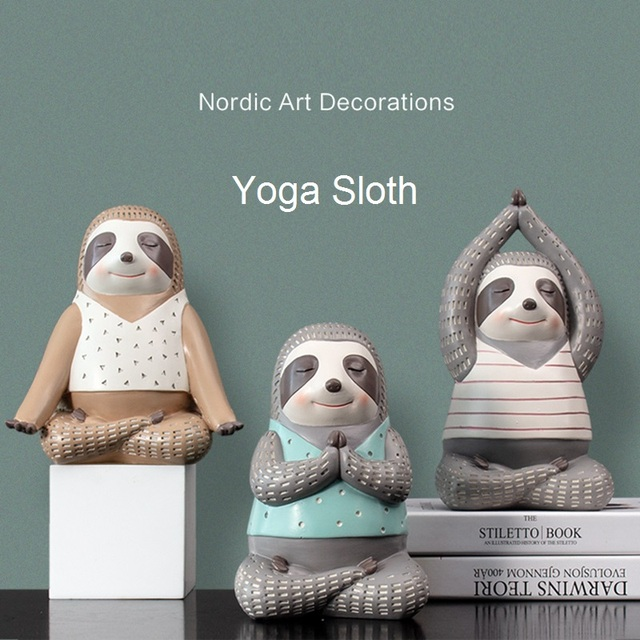 Yoga Sloth Statue Home Decor Chindren Room Ornament Lovely Animal Sculpture Nordic Style Decoration 1