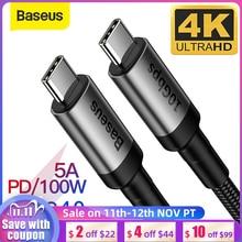 Кабель Baseus USB 3,1 Тип C к USB Тип C для Samsung S9 S10 Xiaomi Быстрая зарядка 4,0 PD 100 Вт быстрое зарядное устройство HDMI кабель для MacBook