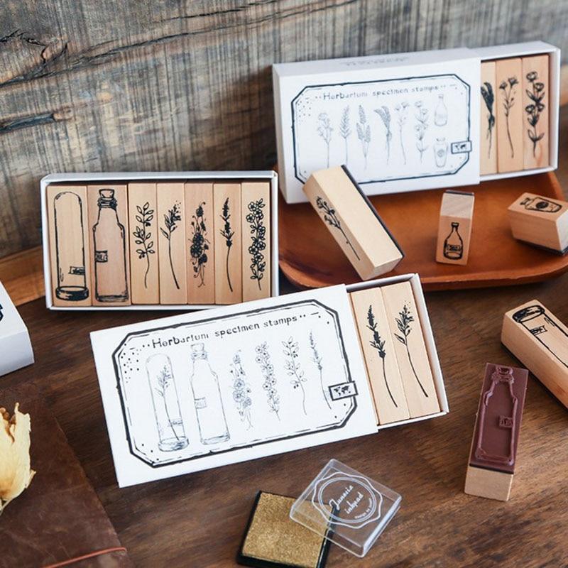 1 Pack Hot Sale Vintage Plant Set Stamp DIY Wooden Rubber Stamps For Scrapbooking Stationery Scrapbooking Standard Stamp