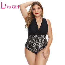 LIVA GIRL Black/Red Plus Size Bodysuit Lined Floral Lace Bodysuits Women Sexy Deep V Neck Sleeveless Jumpsuits Big Size Overalls red spaghetti v neck sleeveless bodysuits