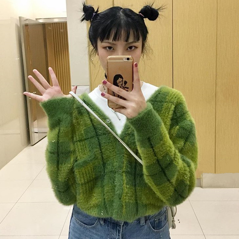 Female Harajuku V-Neck Mohair Knitted Checked Cardigan Faux Mink Cashmere Sweater Coat Single-breasted Fluffy Plaids Streetwear