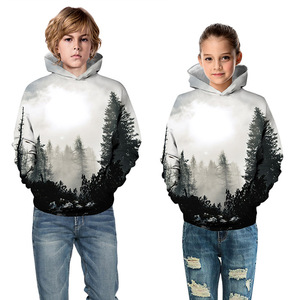 Image 3 - Czarny biały las 3D bluzy z nadrukiem dla nastoletnie dziewczyny chłopcy bluza z kapturem dla dzieci bluza z kapturem jesień zimowa odzież dziecięca sweter