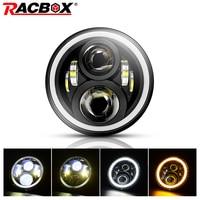 RACBOX 7 LED Headlight 80W 12V 24V Hi/Lo With White DRL Amber Turn Light For Jeep Wrangler JK Hummer Land Rover 7 Inch HeadLamp