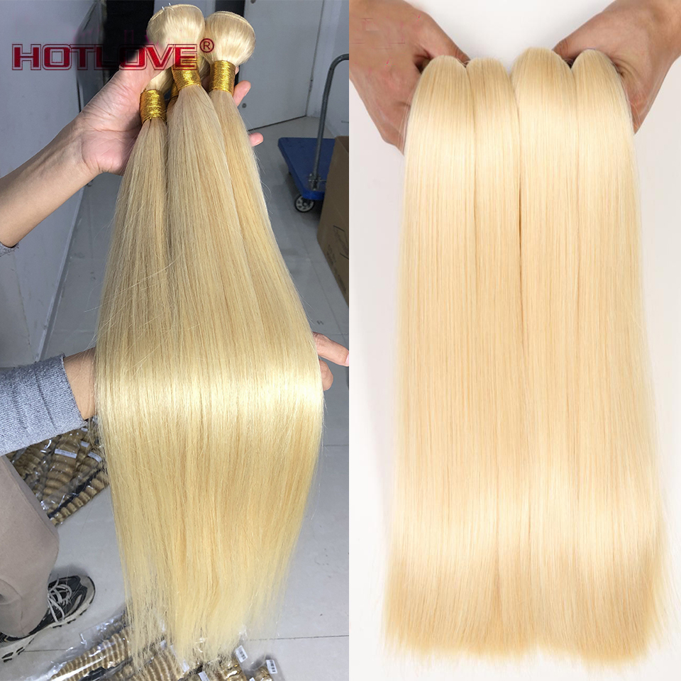 Brazilian Hair 613 Honey Blonde Straight Hair Human Hair 1/3/4 Bundles 8-26 Inches Mixed Weave Bundles Remy Hair Extensions