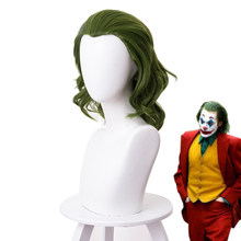 2019 Joker Herkunft Film Clown Joker Perücke Cosplay Kostüm Joaquin Phoenix Arthur Fleck Lockige Grüne Wärme Beständig Synthetische Haar