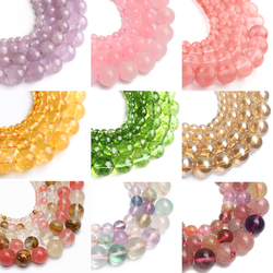 34 Style Wholesale Pink Crystal Strawberry Quartz Amethysts Loose Beads for Jewelry Making DIY Bracelets Accessories 15'' 6-10mm
