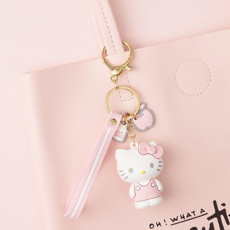 JOYA 2021 Women Key Chain New Epoxy Cartoon KT Series Car key ring Cute Doll Bag Pendant Stainless Steel keychain Gift Wholesale 4