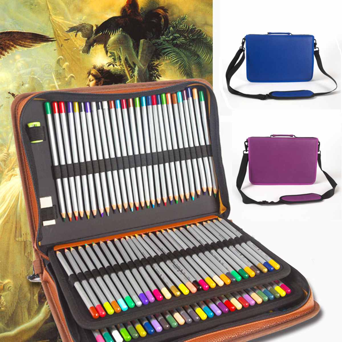 160 Holes School Pencil Case PU Leather Penal for Girls Boys Pen Box Big Cartridge Bag Large 4 Layers Pencilcase Stationery Kit