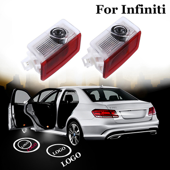 2 x Car LED Door Light Courtesy Welcome Lamp Logo Ghost Shadow Laser Projector Lights car accessories for Infiniti Q30 2016-2019 jurus 12v led door courtesy light with car logo for chrysler for ssangyong for abarth lamp laser projector ghost shadow welcome