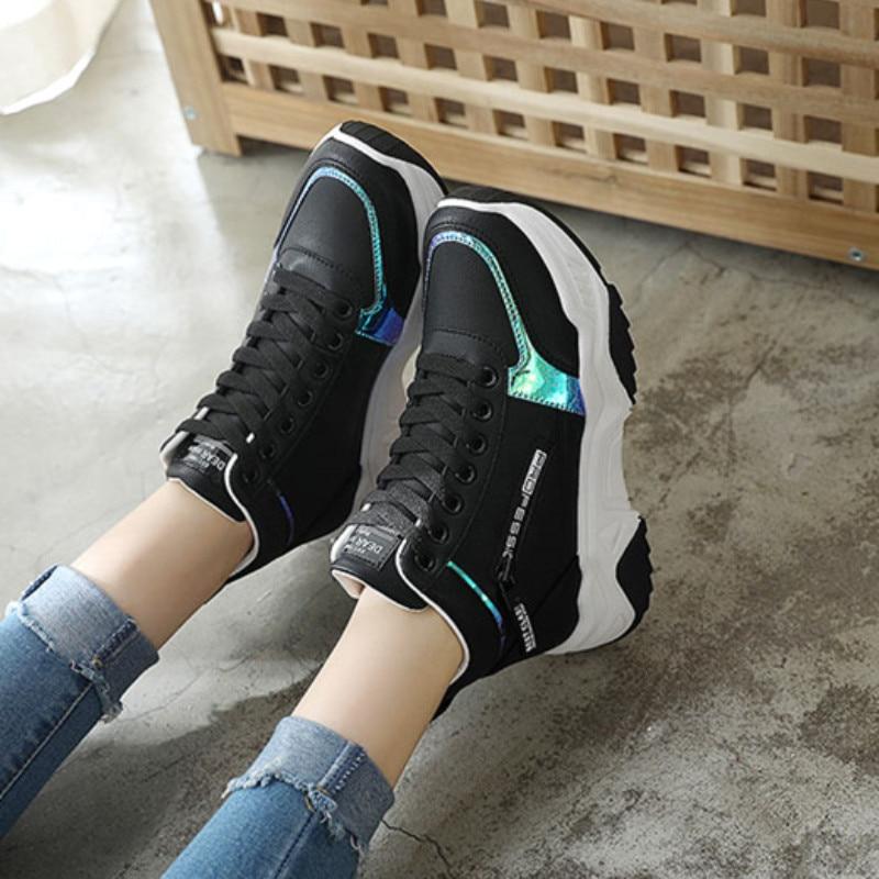 High Top Women Sneakers Ladies Shoes Comfortable Platform Shoes Women Casual Vulcanized Shoes Lace Up Autumn Women Shoes 17