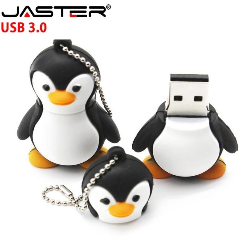 JASTER Cartoon Penguin Model USB 3.0 Memory Stick Flash Pen Drive 4G 8GB 16GB 32GB 64GB