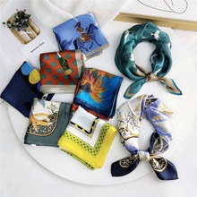 Silk Scarf Women 's Spring and Autumn Summer All -match Korean Headscarf Work Professional Neckerchief Printing