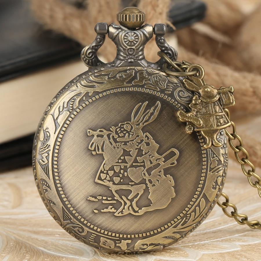 Retro Alice In Wonderland Theme Rabbit Quartz Pocket Watch Bronze Necklace Pendant Clock Gift For Men Women Reloj With Accessory
