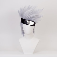 NARUTO Hatake Kakashi Short Layered Silver Grey Heat Resistant Synthetic Hair Cosplay Costume Wig + Headband + Wig Cap(China)